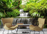 tropical plants waterfall mural