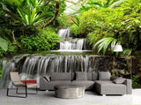 tropical forest waterfall mural