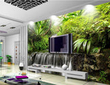 tropical waterfall mural