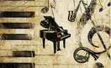 retro style piano theme wall mural