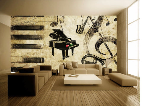 retro piano wall mural