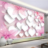 3d hearts wall mural