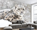 black and white snow leopard mural