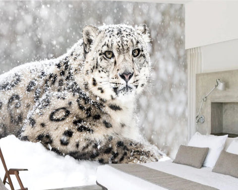 snow leopard wall mural