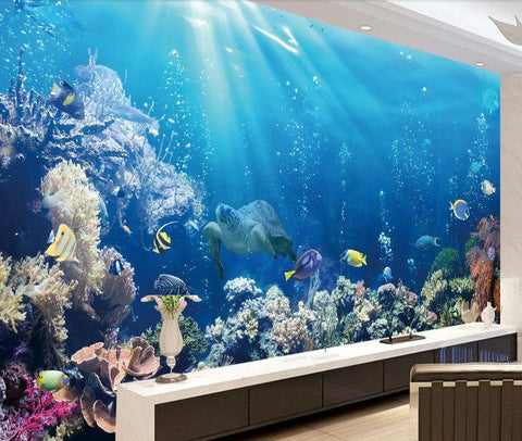 Turtle Water Blue Corals Ocean Sea Wall Mural Photo Wallpaper GIANT WALL DECOR