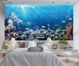 underwater coral sea turtle mural