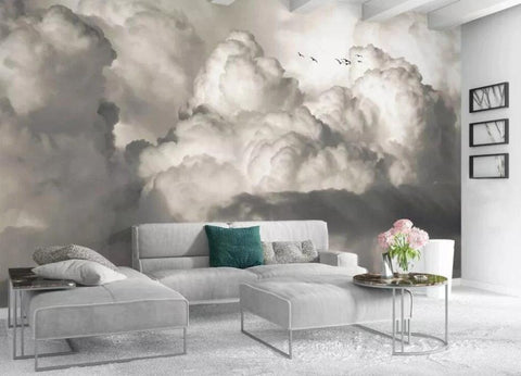 gray fluffy clouds wallpaper
