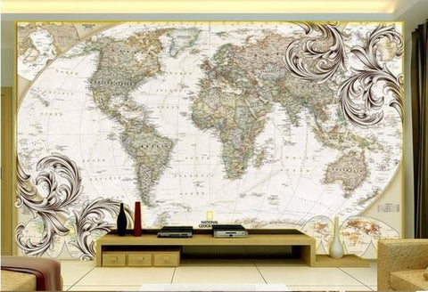 decorative old world map wallpaper