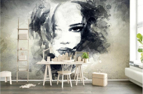 watercolor girl face wallpaper