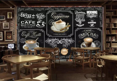 3D Hand-painted Blackboard Coffee Design Wallpaper Retro ...