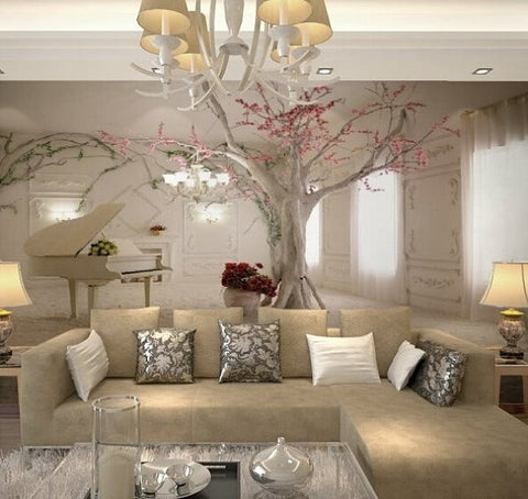 Beautiful Wallpaper 3d Piano and Tree Design Wall Mural