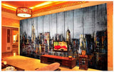 3d city reto style wall mural