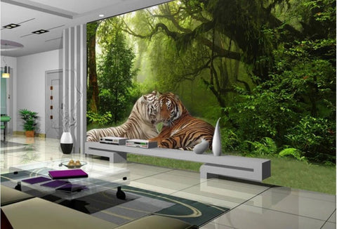 3D tiger couple wallpaper