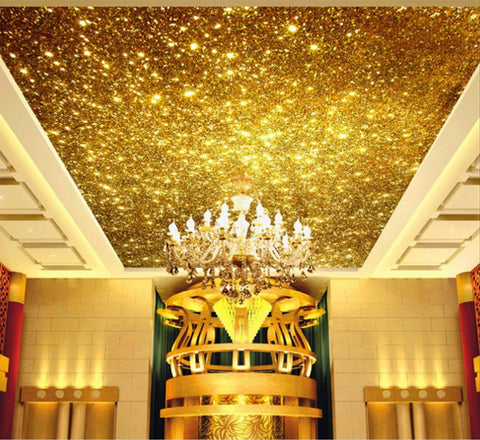 golden glitter ceiling wallpaper