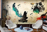 abstract musical instruments wall mural