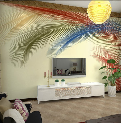 3d Photo Print Color Feathers Wall Mural Wallpaper Home Or
