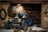 old car wooden garage wallpaper