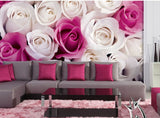 fuchsia roses floral theme wallpaper