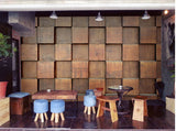brown wood squares wall mural
