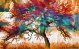 watercolor painting abstract tree mural