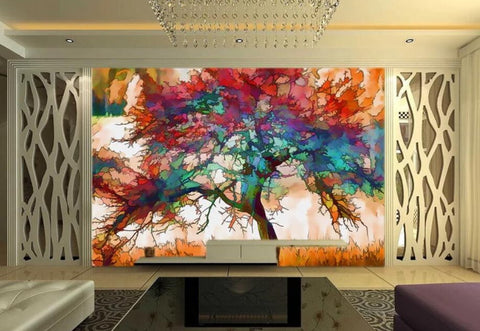 abstract tree mural