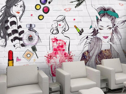 beauty salon mural