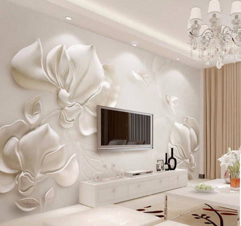 sculptured magnolia flowers mural