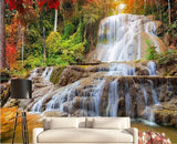 red maple forest waterfall mural