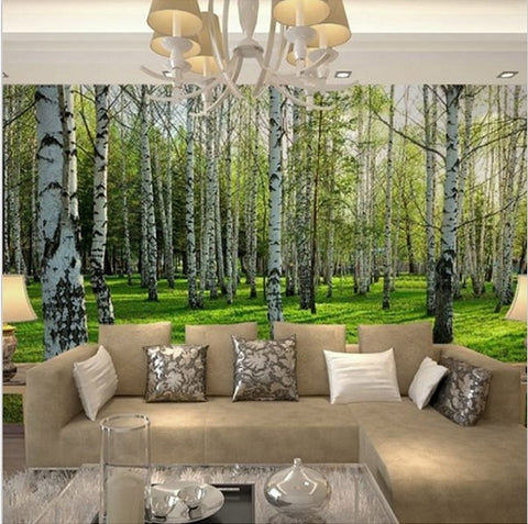 3D birch trees forest wallpaper