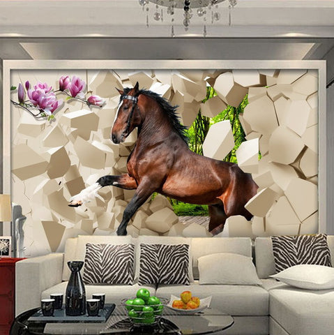 3D Galloping Horse Wallpaper Wall Mural