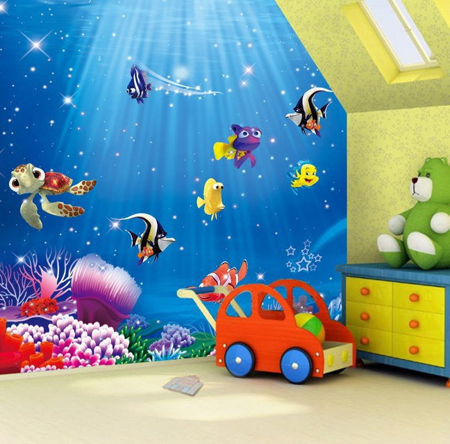 Dory nemo cartoon fish wallpaper wall mural kids wallpaper for Children mural wallpaper