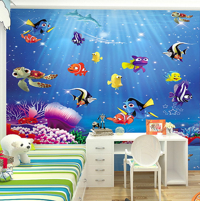 Dory nemo cartoon fish wallpaper wall mural kids wallpaper for 3d aquarium wallpaper for bedroom