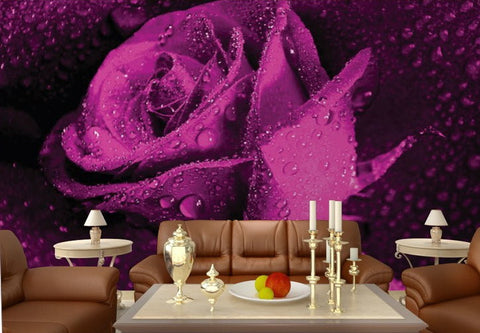 Large Purple Rose Waterdrops Wallpaper Wall Mural