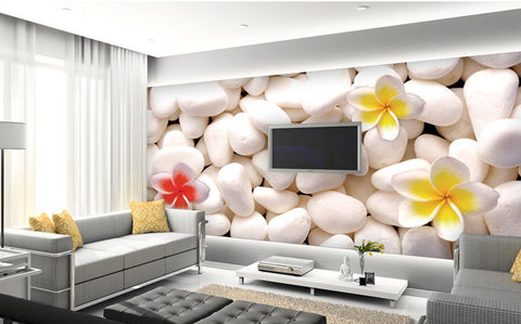 3d stones and flowers wallpaper