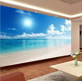 3d calm water beachfront wallpaper