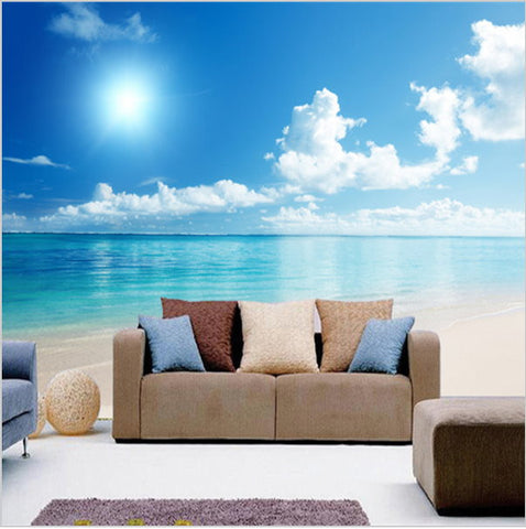 3d calm ocean beach blue sky wallpaper mural wall art for Cloud wallpaper mural