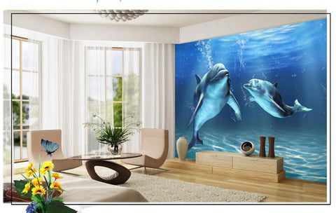 3D dolphins underwater wallpaper