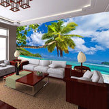3D tropical beach wall mural
