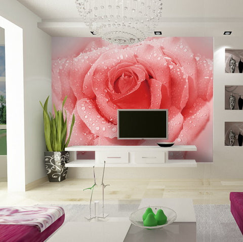 3D Large Pink Rose Floral Wallpaper Mural