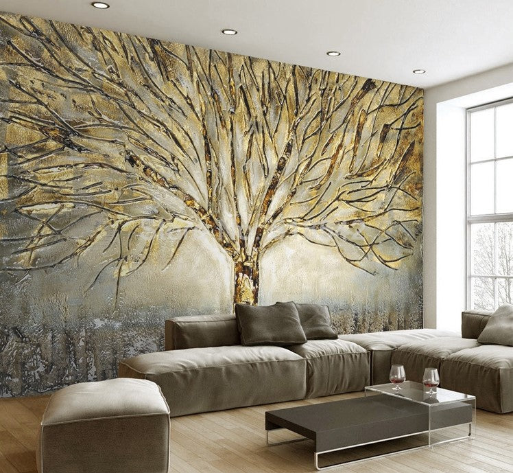 Designer Wallpaper Ideas Photos: 3D Golden Tree Abstract Design Wallpaper Mural For Home Or