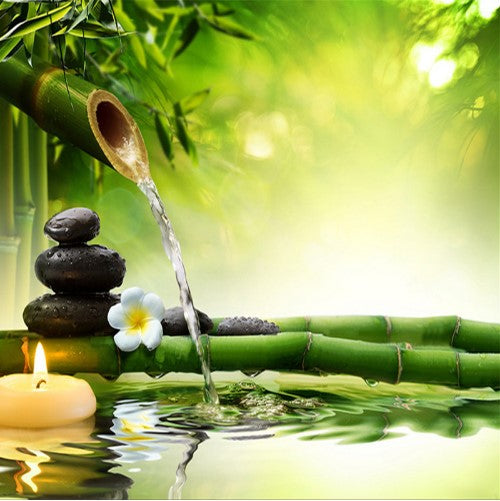 3d Bamboo With Flowing Water Candle And Zen Stones
