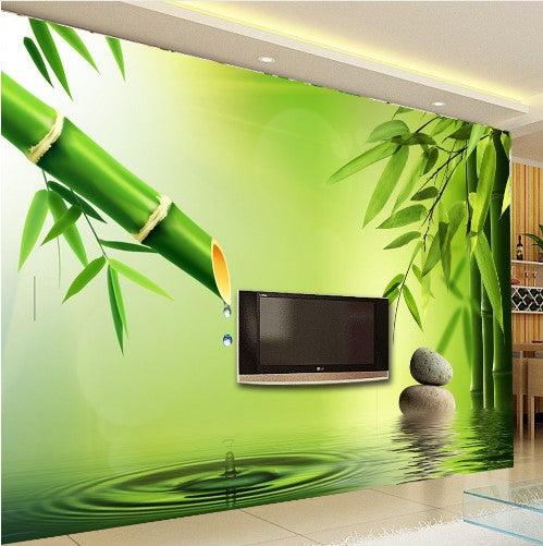 3D Bamboo Water And Water-drops Wallpaper For Home Or