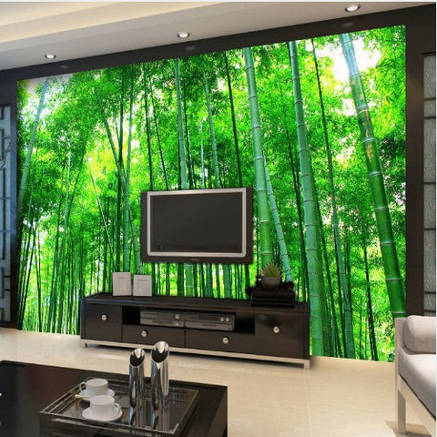 3D Green Bamboo Forest Wallpaper for Walls Trees Landscape Wall Mural