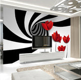 black and white abstract swirl mural
