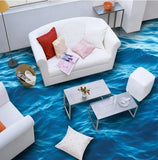 3d blue ocean water peel and stick floor mural