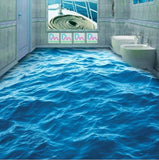 blue ocean self-adhesive floor mural