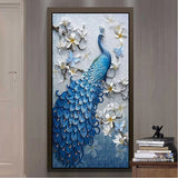 blue peacock embossed mural