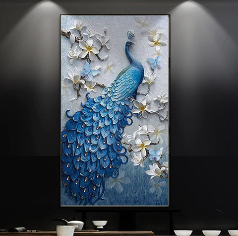 blue peacock flowers mural