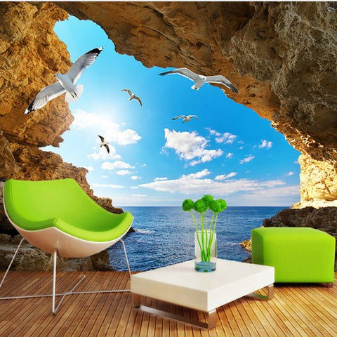 sea view cave wallpaper