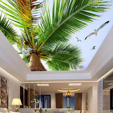 coconut tree ceiling wall mural